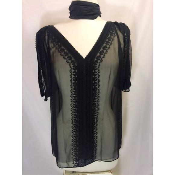 c0f3a37b604b2d Elie Tahari Size Small Silk Black Brette Blouse